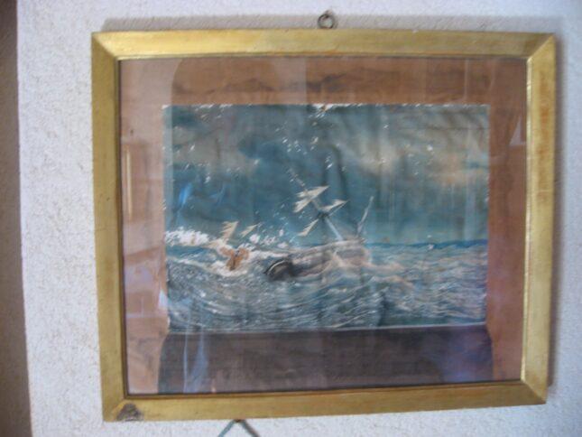 Картина гибнущего в океане корабля