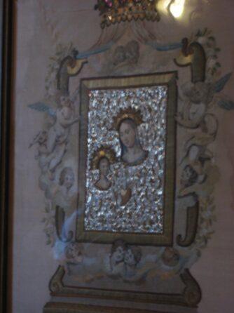 Икона, вышитая волосами: Дева Мария на Утесе