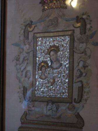 Ікона, вишита волоссям: Діва Марія на Утьосі