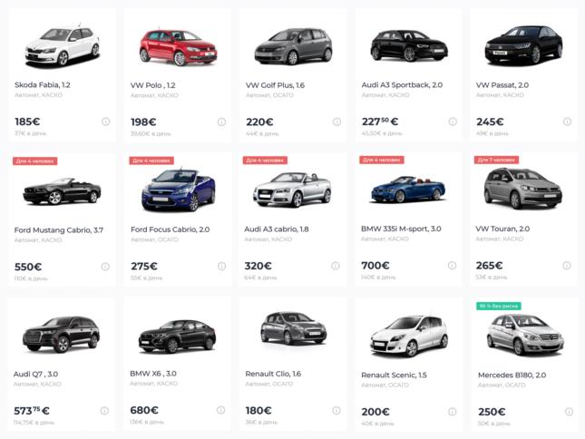 Приклади цін на оренду авто в Myrentacar
