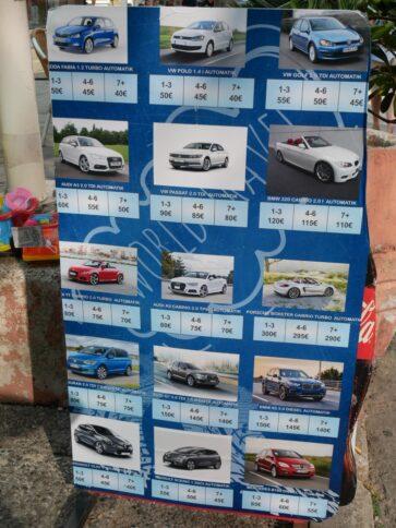 Примеры цен в одном из местных прокатов