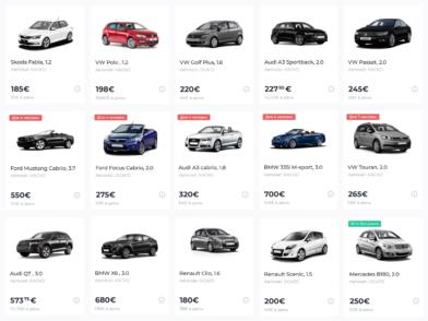 Цены на авто на сайте Myrentacar